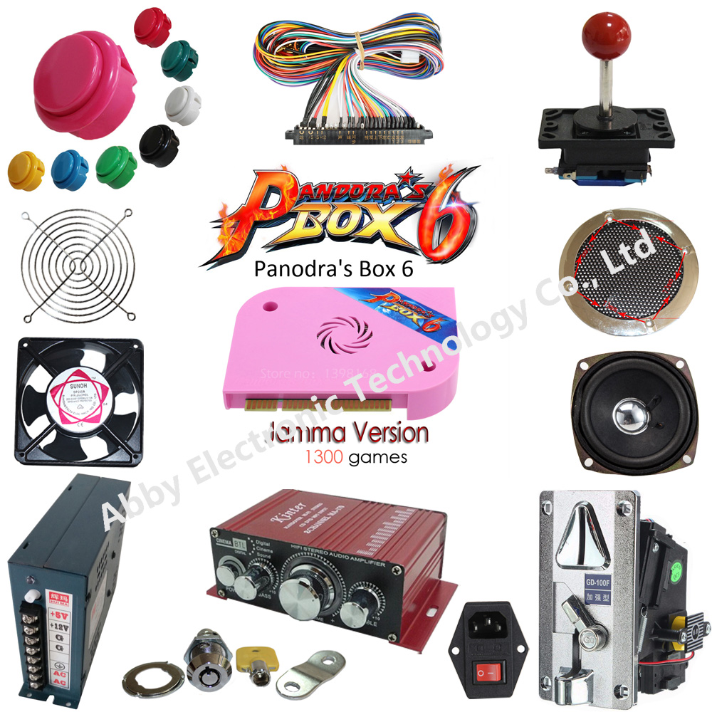 Kit de paquets de pièces d'arcade avec manette bouton-poussoir Micro bouton de commutation boîte Pandora 6 jeu PCB pour construire une Machine d'arcade à 3 côtés