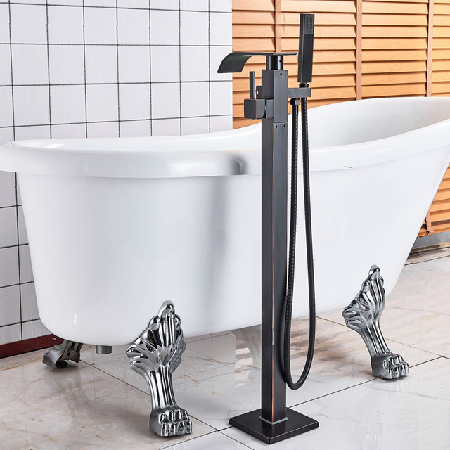 Waterfall Bath Shower Faucet Black Bronze Floor Mounted Bathtub Mixer Faucet with Handshower Freestanding Clawfoot Tub Sink Tap