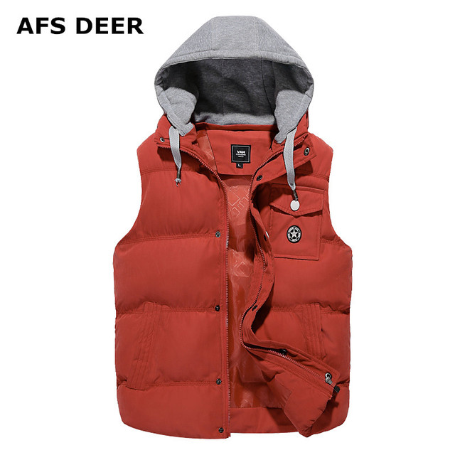 2016 Brand jacket vest men's Warm winter fashion causal coat  men  with hat  solid leisure hoodies down coat male sleevess