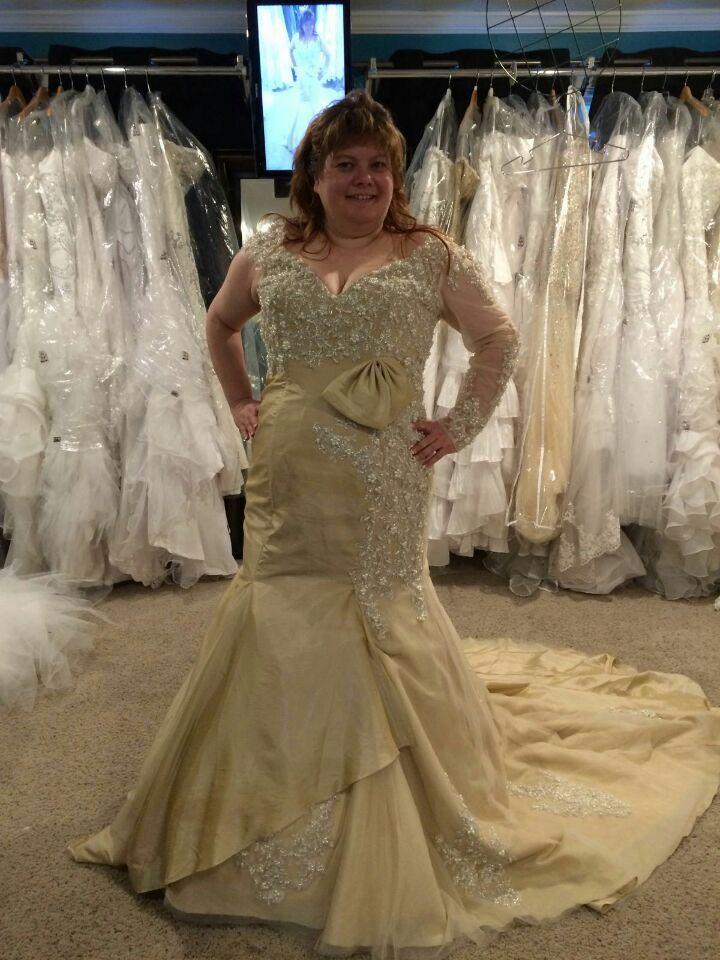 One Long Sleeve Champagne Plus Size Wedding Dresses V Neck Corset ...