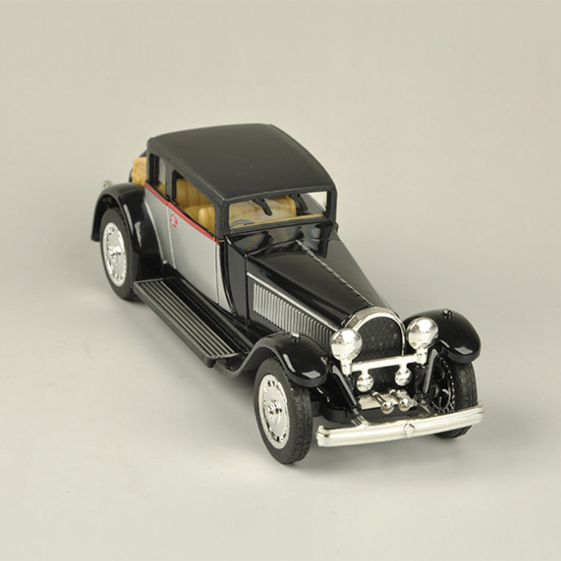 1/28 Vintage Bugatti Car Model Sound And Light Alloy Pull Back Flashing Classic Vintage Collective Music Car Toy