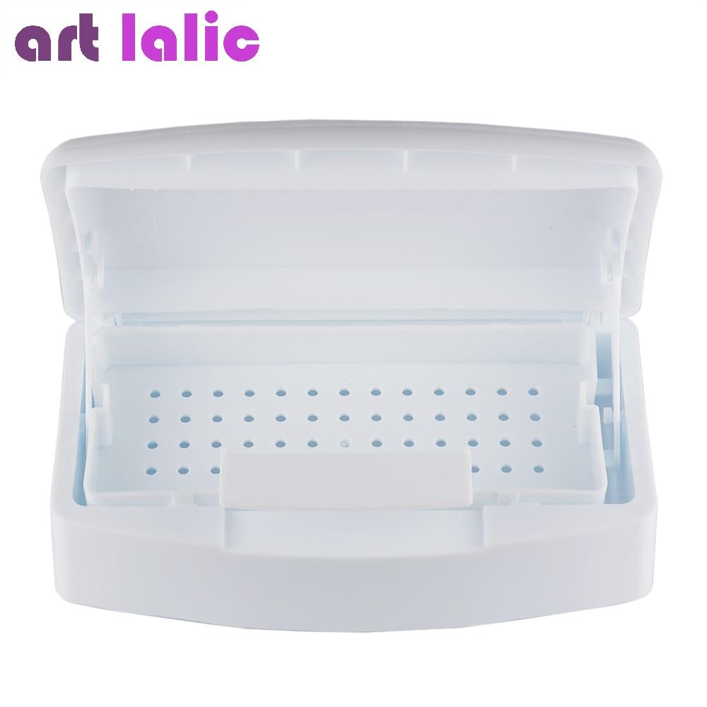 Artlalic 1pcs New Nail Sterilizer Tray Disinfection Pedicure Manicure Box Nails Art Boxes Sterilizing Salon Tools White