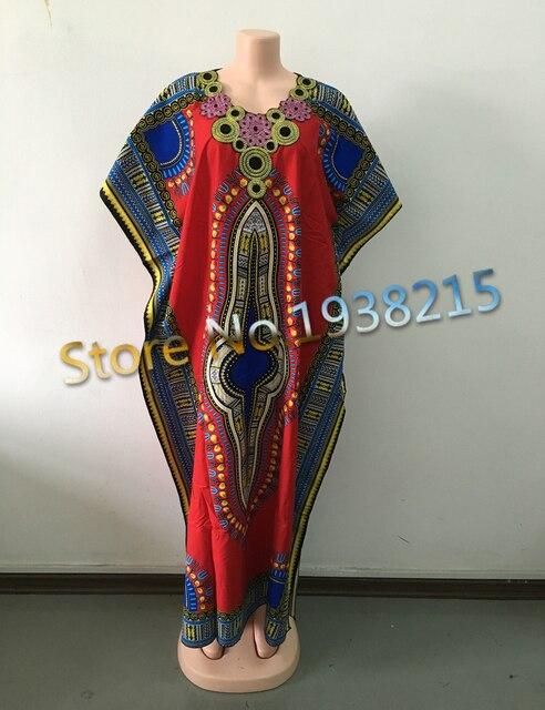 Оптовая 2016 Новая Мода Дизайн Традиционных Африканских Одежды Печати Dashiki Цветок Шеи Вышитые Африканские Платья для Женщин
