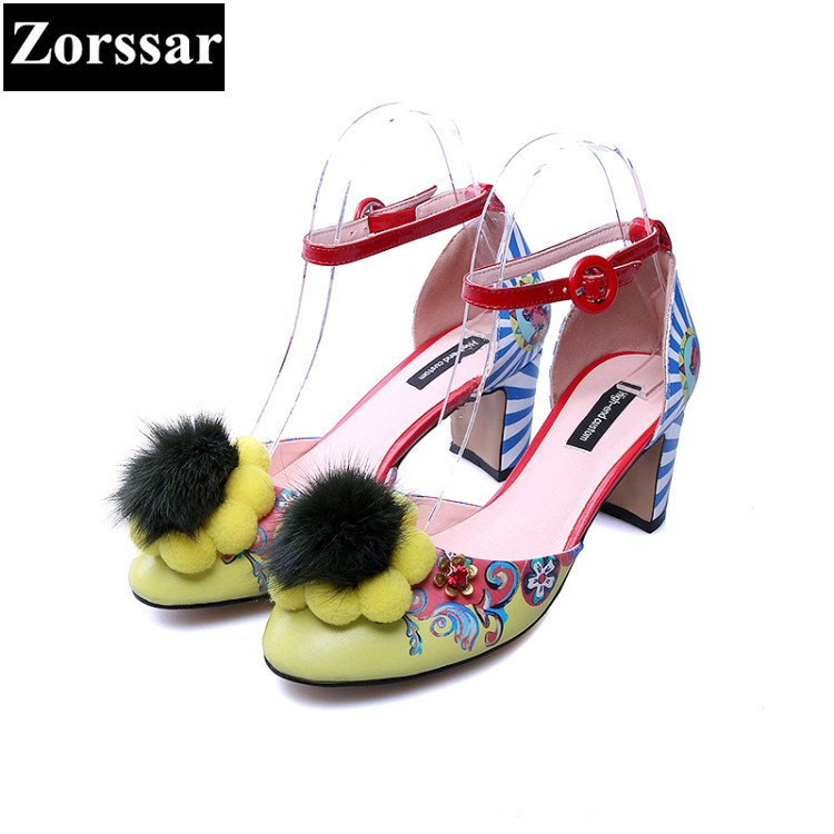 {Zorssar} 2018 NEW Genuine leather Fashion Ethnic style Womens peep toe High heels sandals women Wedding shoes ankle strap shoes 2017 new summer fashion women casual shoes genuine leather lady leisure sandals gladiator all match ankle peep toe flowers