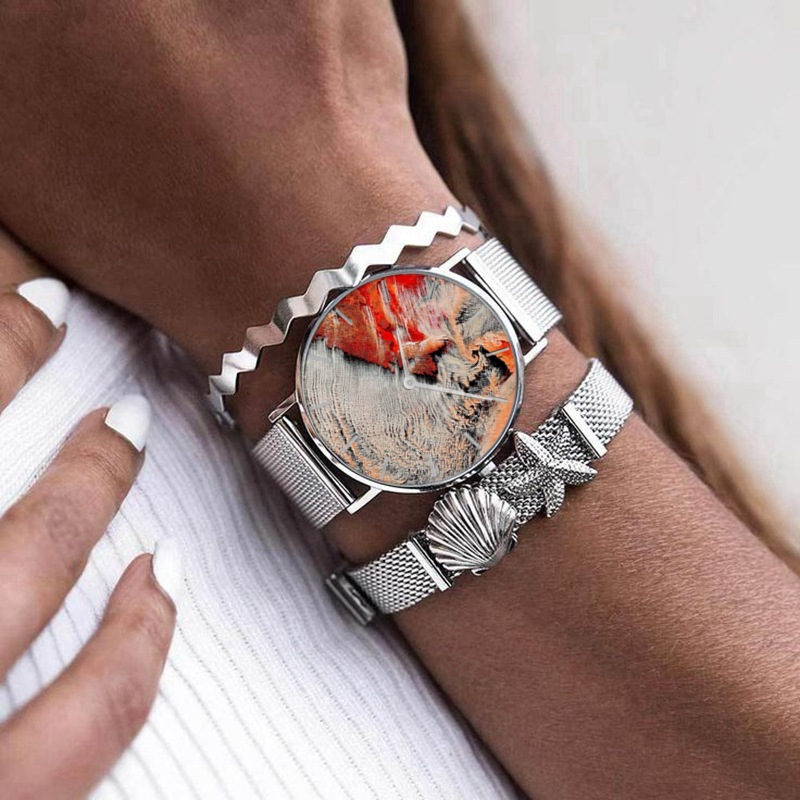 REOULIONS New Women Watches  Coral Shell Fashion Retro Watch Stainless Steel  Belt Quartz  Relogio Feminino Watch  002