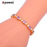 New Brand Design Product Elegant Amethyst Bracelets For Women 18K K Gold Plated Purple Australia Zircon
