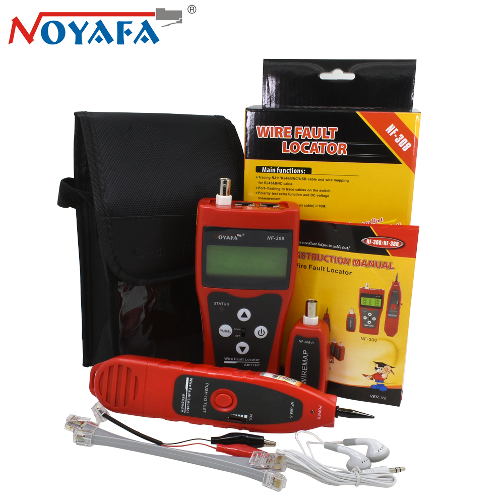Original Noyafa Red NF-308 RJ45 UTP Cat5 Cat6 Diagnose Tone Tool Kit Line Finder Telephone Wire Tracker LAN Network Cable Tester noyafa professional nf 806 network wire tracker telephone wire finder portable handheld rj45 rj11 lan cable testing tool
