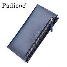 Top grain Cow leather Men Business Wallets Bifold long Wallet Leather Credit Card Holder Mens wallet Clip Purse Bag Blue Color