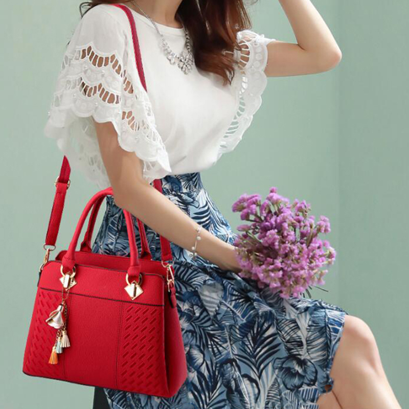 Image 5 - Fashion Women Handbags Tassel PU Leather Totes Bag Top handle Embroidery Crossbody Bag Shoulder Bag Lady Simple Style Hand Bags-in Top-Handle Bags from Luggage & Bags