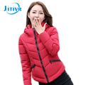 Jitivr Faddish Fall Winter Newest Women's Fashion Cotton Hooded Jacket Feminine Short Slim Solid Warm Thick Outwear Coat 2016
