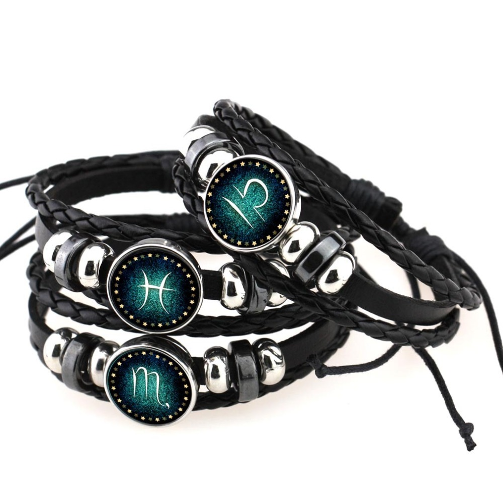 Men Women Braided Leather Bracelets & Bangles 12 Constellation Bracelet 2017 New Style Jewelry For Women Femme Gift Wholesale