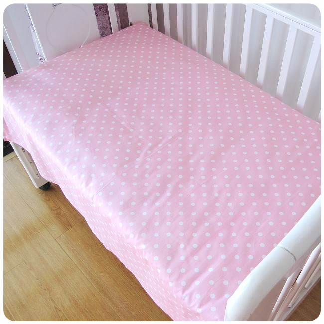 Promotion! 6PCS Pink Point Baby Bedding Set Material Cotton Comfortable Feeling Baby Bed Sets (bumpers+sheet+pillow cover)