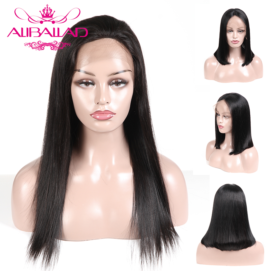 Lace Front Human Hair Wigs For Black Women Preplucked Brazilian Straight Lace Frontal Wig Remy Bleached