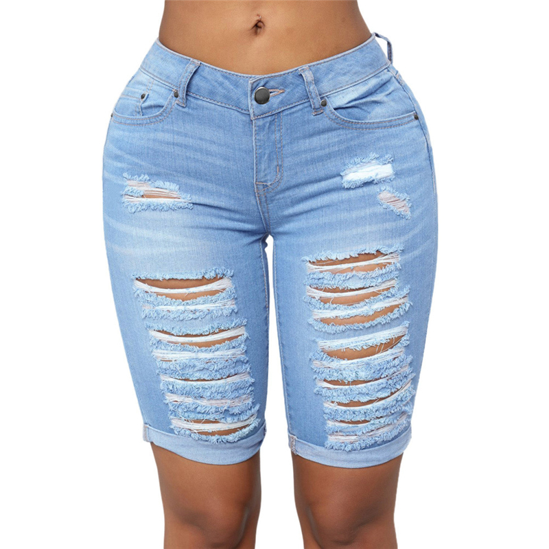 Sexy Low Waist Ripped Denim Shorts For Women Elegant Ladies Distressed Low Rise Stretch Blue Jeans Bermuda Shorts Plus Size