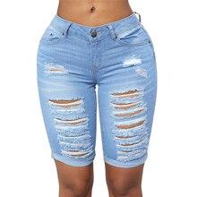 Sexy niskiej talii zgrywanie spodenki jeansowe dla kobiet eleganckie panie znajdujących się w trudnej sytuacji niski wzrost Stretch niebieskie dżinsy bermudy Plus rozmiar
