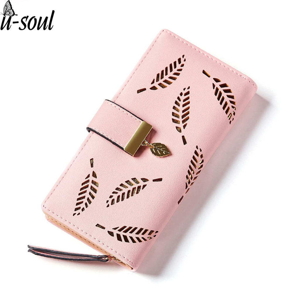 Bifold Wallet Purses Card-Holder Clutch Leaf Female Women A1491 Hollow-Out