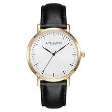 lars larsen Hot Quartz Watch Top quality Leather Wrist Watch men Luxury Famous Wristwatches women