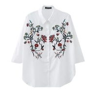 New Women Elegant Flower Embroidery Loose Blouses Long Sleeve White Shirts Ladies Work Office Wear Fashion