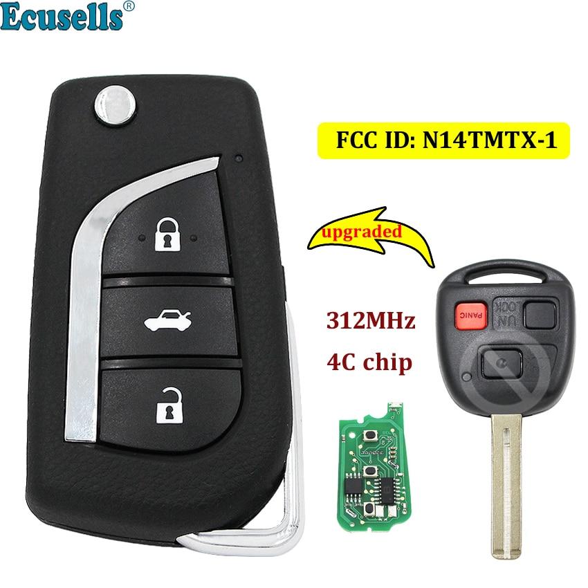 Модернизированный флип 3 кнопки дистанционный ключ брелок от машины 312 МГц с чипом 4C для Lexus RX300 1999 2003 FCC ID: N14TMTX 1