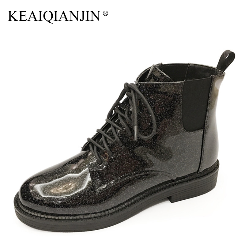 KEAIQIANJIN Woman Winter Wool Snow Boots Patent Leather Shearling Chelsea Boots Fashion Black Bottine Lace Up Ankle Boots 2018