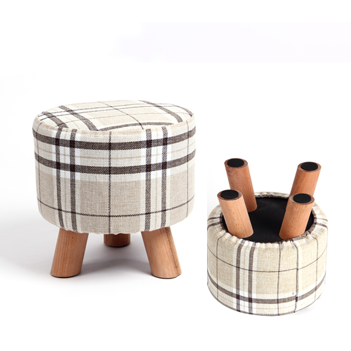 Modern Stool Solid Wooden Stool Ottoman Stool Solid Fabric