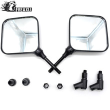 M10 10mm Black Square Dual Sport Motorcycle Rearview side Mirror Specchi clear glass case for kawasaki versys 650 yamaha ybr 125