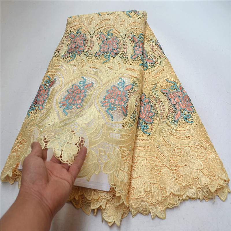 Hot Sale Cheap French Guipure Lace Fabric With Stones 2019 High Quality African Cord Lace Fabric