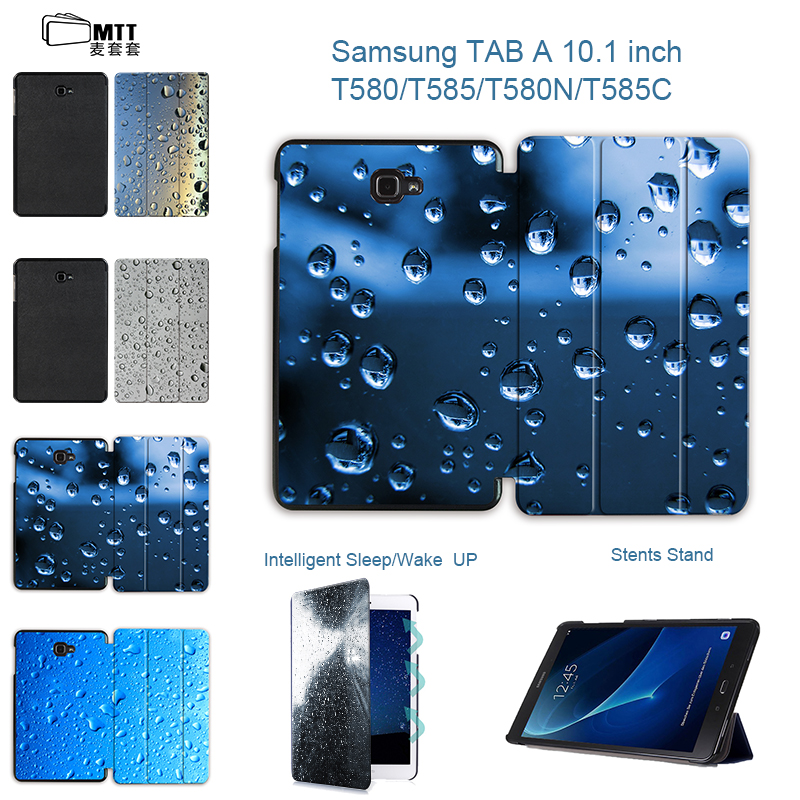 MTT Magentic Smart Stand Case for Samsung Galaxy Tab A A6 10.1 2016 T580 T585 T580N T585N Tablet case Raindrops PU Leather Cover luxury flip pu leather case cover for samsung galaxy tab a 10 1 2016 t580 t585 t580n t585n tablet stand cover with card slots