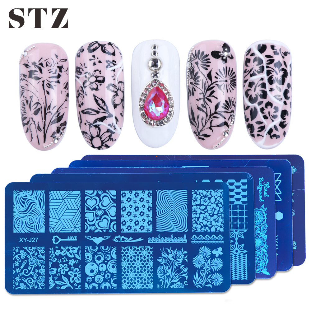 STZ Nail Stamping Plates Flowers Geometric Stencils Molds Nail Art Stamp Plate Templates Manicure Gel Polish Form Tools XYJ17-32
