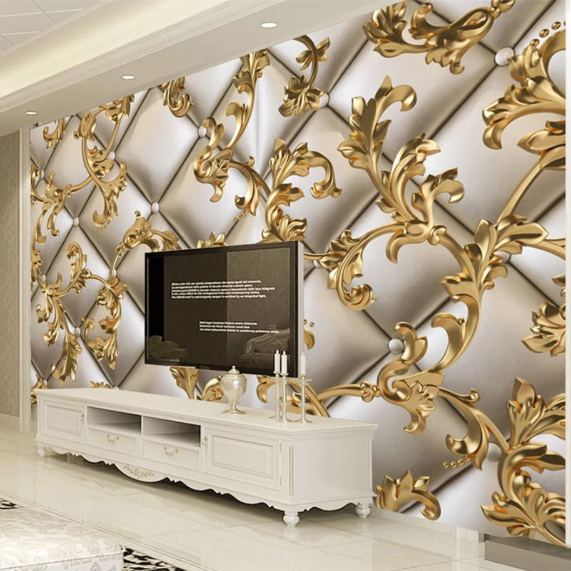 European Style Golden Pattern Soft Roll Mural Wallpaper 3D Luxury Home Decor Wallpaper Self-Adhesive Easy Installation Stickers