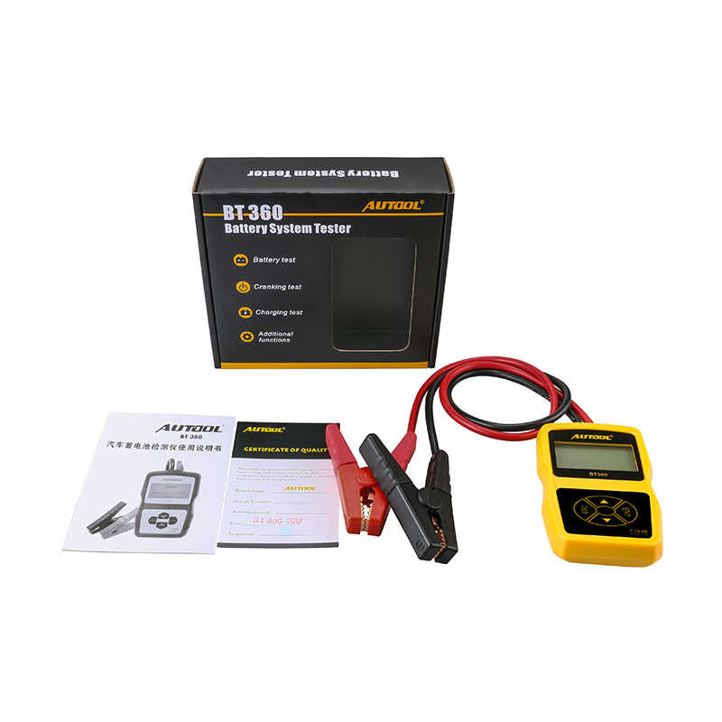 AUTOOL BT360 Multi-language 12V Digital Car Battery Tester for Flooded AGM GEL BT-360 12 Volt Automotive Battery Analyzer BT 360