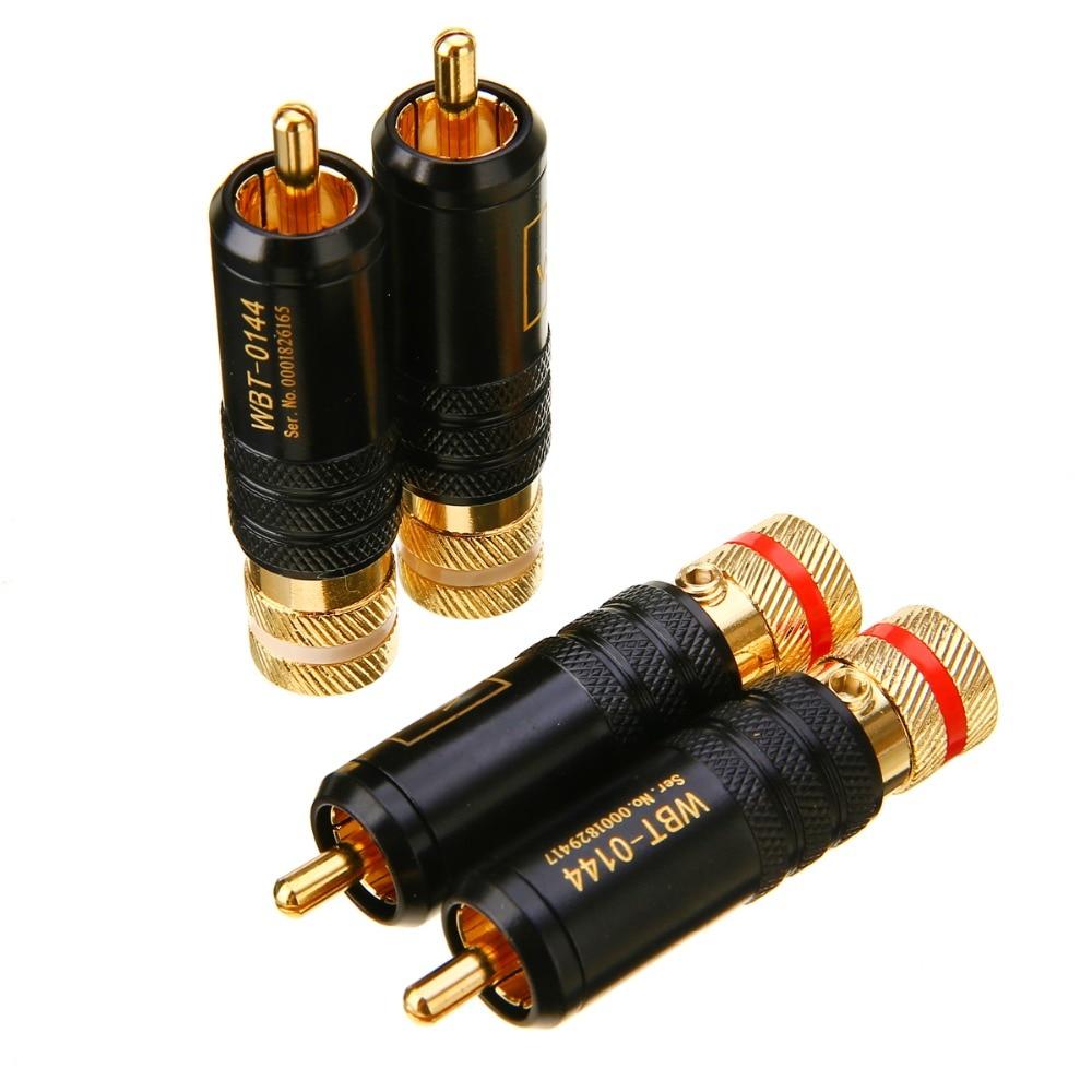 4pcs Lot Durable Copper RCA Connector Plug Soldering Screws Locking Audio Video Connector Mayitr WBT Plug 53mm*13mm цена