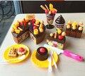 Игрушки для детей Кухня Дети играют миниатюрная пластиковая еда девочки шоколад резки торт ко дню рождения игрушки brinquedos alimento