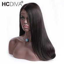 13*4 Lace Front Human Hair Wigs For Black Woman Middle Part 130% Density Lace Frontal Wigs Brazilian Straight Remy Hair HCDIVA(China)