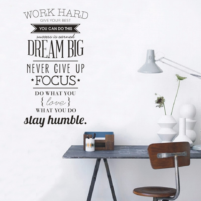 100x56cm Wall Art Wall Stickers Wall Decals Quotes Work Hard Vinyl