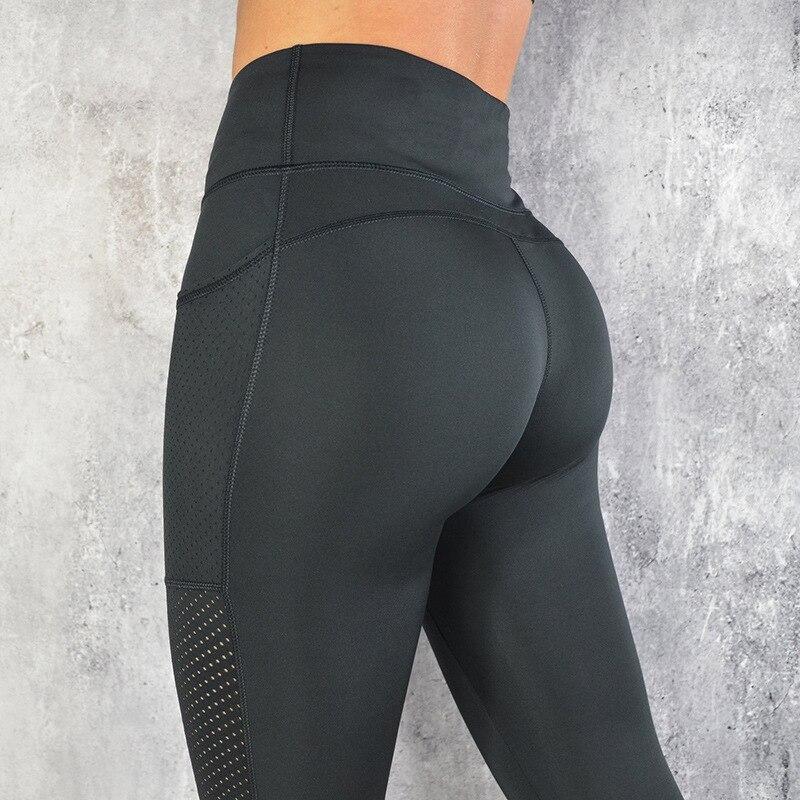 NORMOV High Waist Pocket Mesh Leggings Women Fitness Legging  Breathable Patchwork Leggings Fitness Leggings S-L