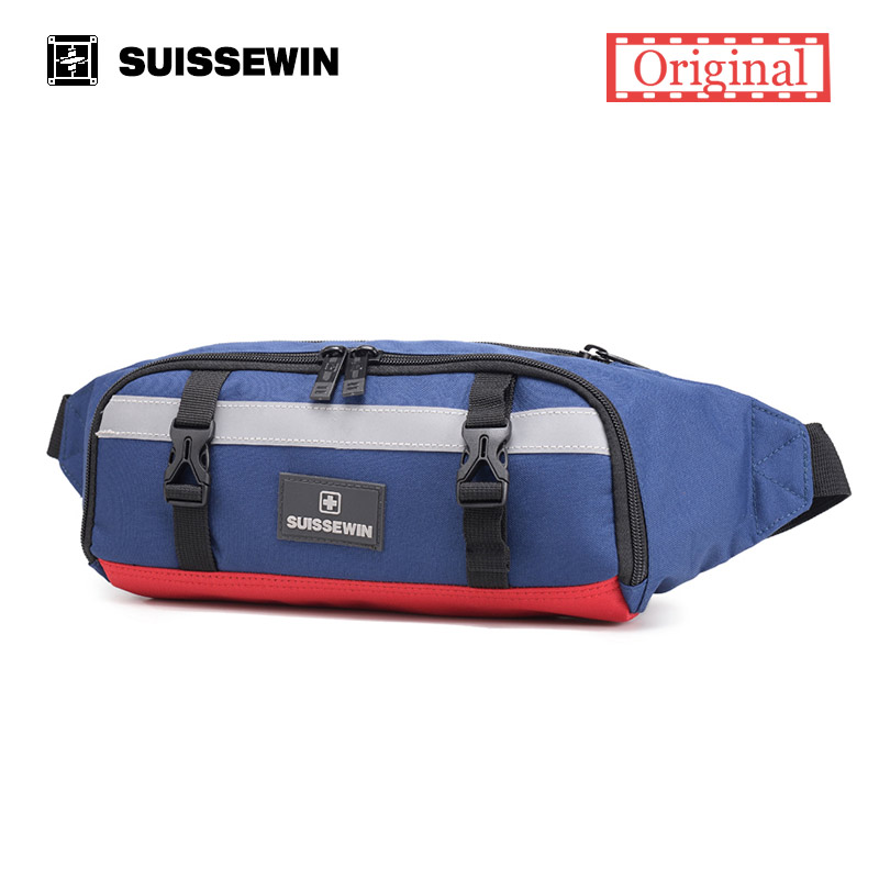 Suissewin Fashion Fanny Pack Women Small Running Waist Bag Girls Chest Bag Casual Sling Bag Camouflage Black Blue jogging femme nautica blue 3.4 oz
