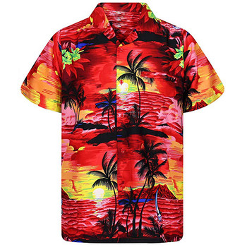 Casual Male Hawaiian Shirts Fashion Men's Casual Button Hawaii Print Beach Short Sleeve Quick Dry shirt Top Blouse New Arrivals 2