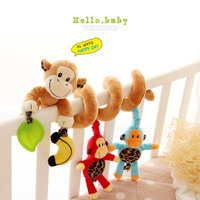 0 12 Month Educational Toys Musical Baby Stroller Bed Cot Crib Hanging Infant Baby Cartoon Monkey