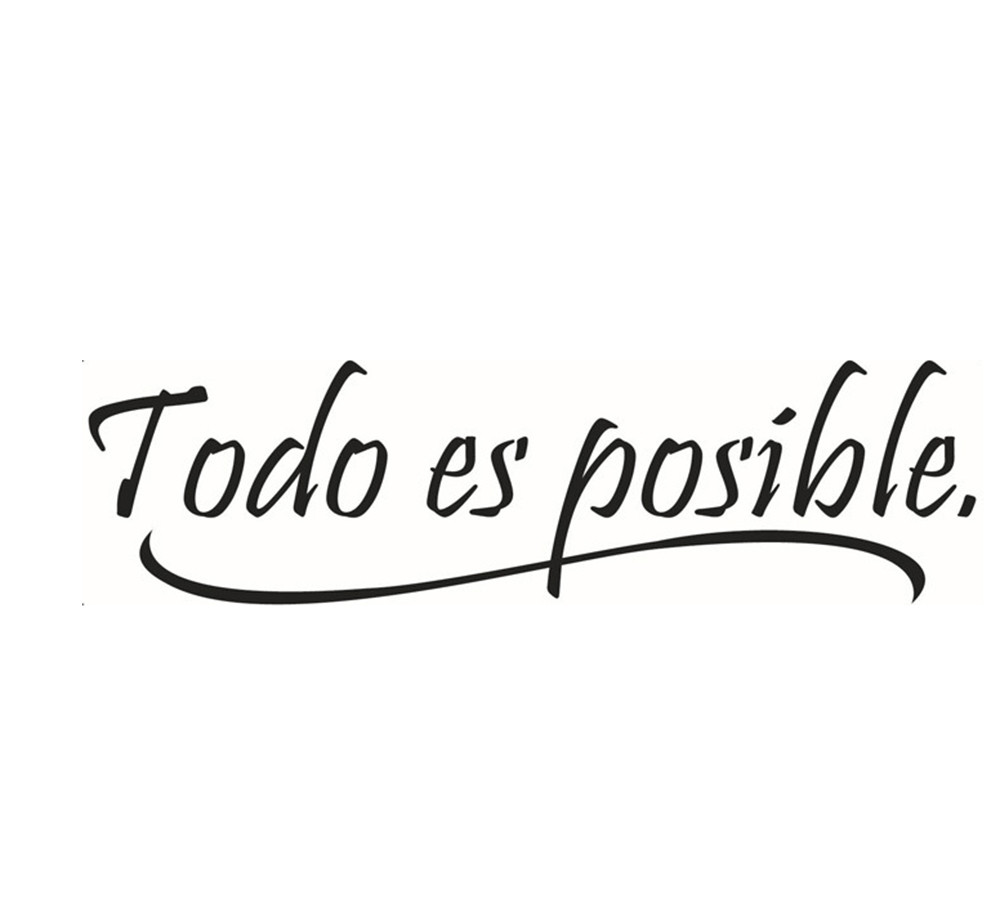 Everything Is Possible Spanish Inspiring Quotes Wall Sticker Home Decor Kid room Vinyl Wall Mural Decal pegatinas de pared &ST87
