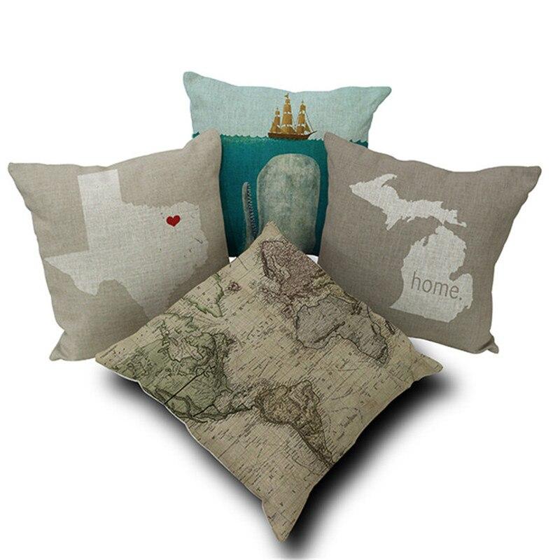 Современный дом Декоративные диванные подушки Ocean Рыба Карту Краб морские звезды животных Чехлы для диван домашний декор Капа де almofadas