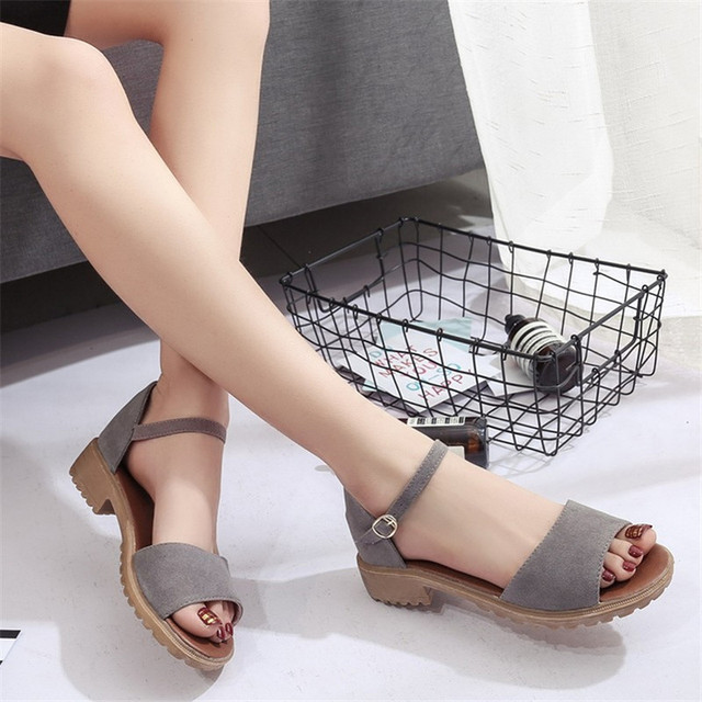 POADISFOO new Roman flat with coarse sandals female students open toe flat with South Korea wild women tide shoes.HXQ-09
