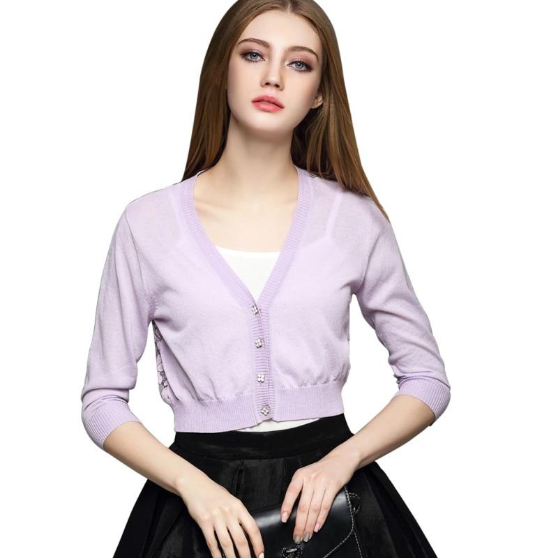 Shell Botón Para Mujer Camisas de Abrigo Chal Suéter Cardigan Tejido de Punto Te