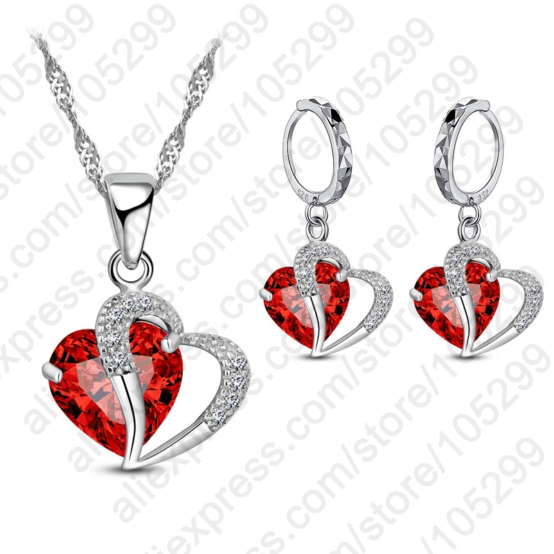 Unique Design Cubic Zirconia Jewelry Sets 925 Sterling Silver Fashion Necklace Earrings Luxury Wedding Women Bridal Gift(China)