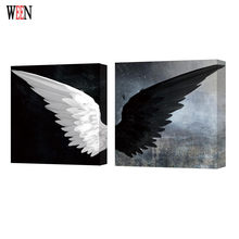WEEN White and Black Wing Wall Pictures Stretched And Framed For Room Modern Angel Wing Canvas Painting Poster Directly Handed(China)