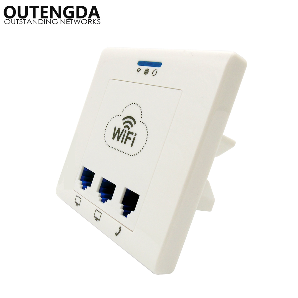 Outengda In Wall Socket Wireless Wifi Ap Router 80211bgn 2 Ethernet Jack Wiring Point Ports 1 Rj11 Port Access For Iptv Ip Phone Routers From