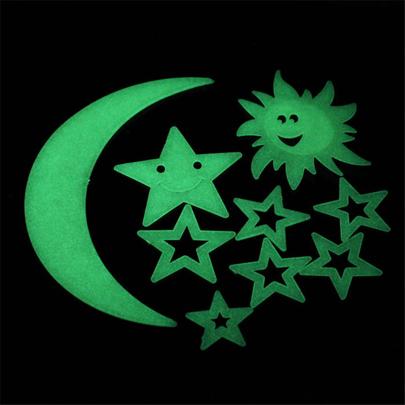Stars Moon Sun Glow In The Dark Luminous Home Wall Stickers Decal