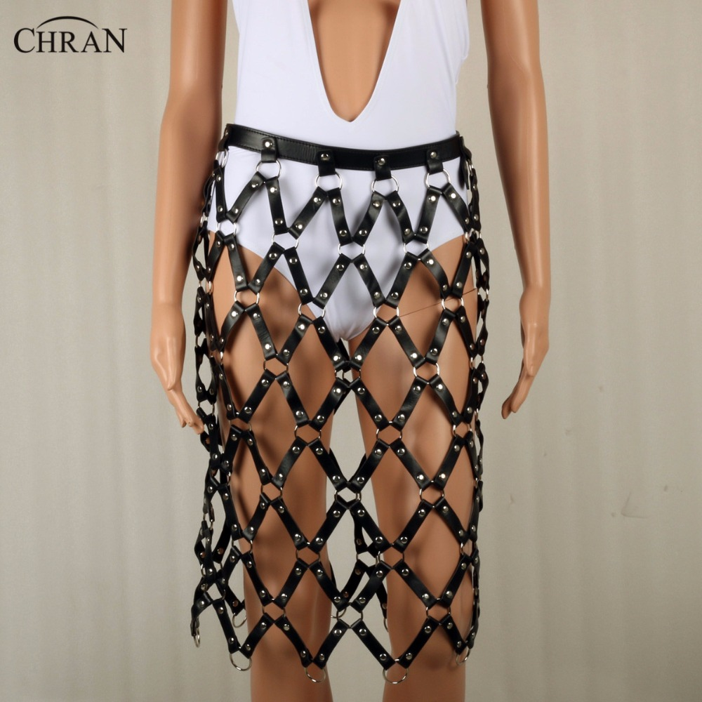 CHRAN Luxury Women Brand Accessories Faux Leather Harness Bondage Body Jewelry Chain Fringe Mesh Belt Belly Waist Sexy Dress dancer feather faux pearl waist belt chain