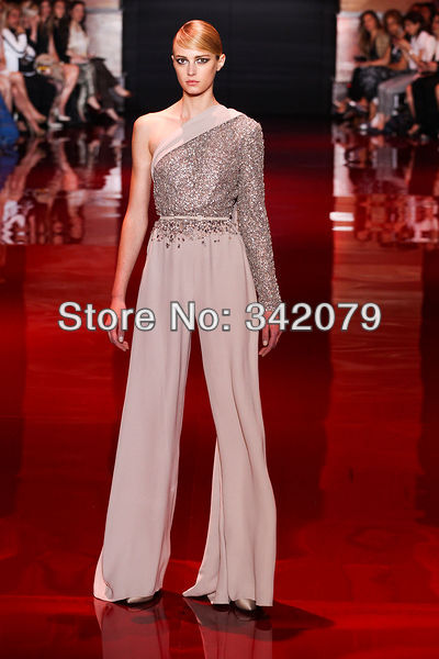 00809d99892 Aliexpress.com   Buy ph03425 silver asymmetry jumpsuit with fully  embroidered bodice evening dresses crystal dress elie saab haute couture  from Reliable ...