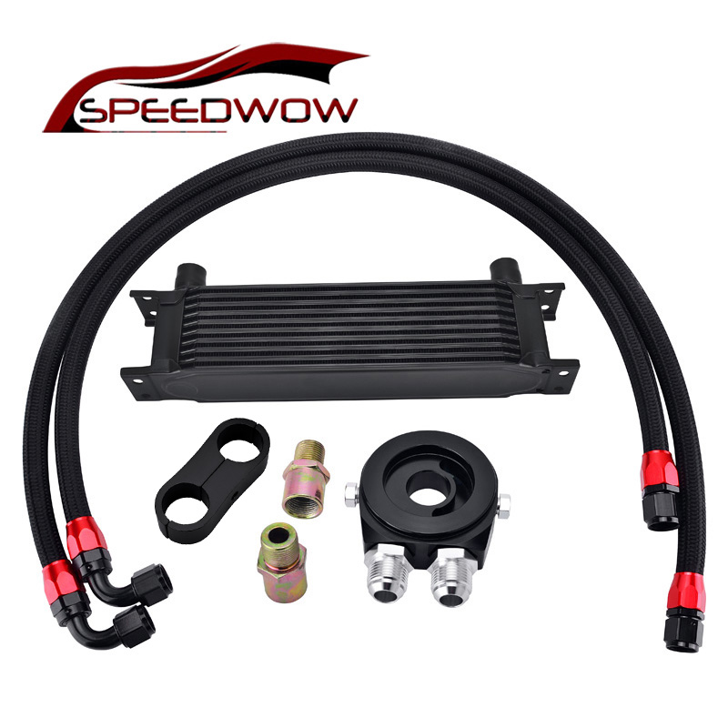 SPEEDWOW 10ROW 10AN Transmission Racing Oil Cooler+Aluminum Oil Filter Cooler Sandwich Adapter+AN10 Swivel Hose Fitting Kit цена